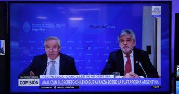 SOLÁ Y FILMUS EXPUSIERON SOBRE SITUACIÓN CON CHILE. FUERTE APOYO DEL SENADO A LA POSTURA OFICIAL